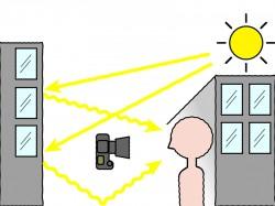 ●建物の壁面に乱反射した光を使うと、肌のグラデーションがキレイに表現できる